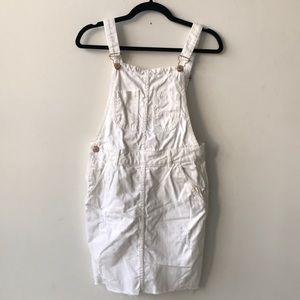 Zara white denim overall mini dress